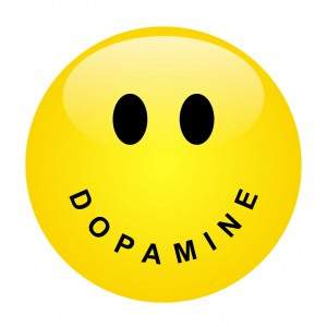 Smiley with lettering DOPAMINE as mouth - vector