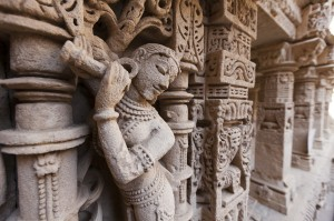 Statues at the Rani Ki Vav step well, Patan, Gujarat, India