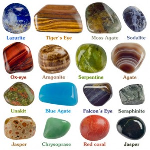Collection of minerals on a white background